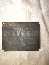 Union Machinery & Supply Co. Tag