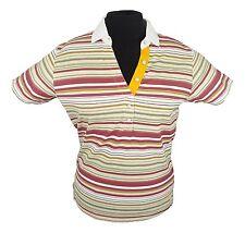 Ladies Musto Stripped T-Shirt Orange Maroon Green - SMALL UK 10 RP: £30
