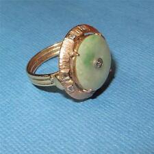 Vintage Art Deco 14K Gold Jade Diamond Ring Bi-Disk 4.6 grams Size 6.75