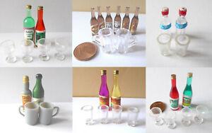 Wein Bier Limonade Gläser Flasche Weinglas Bierkrug Puppenstube Miniatur 1:12