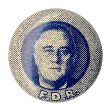 Vintage 1930s Franklin Roosevelt F.D.R. Campaign Mini Picture Button (1802)