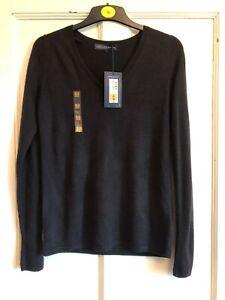 NWT Ladies Black V Neck Soft Feel Jumper from Marks & Spencer Size 10