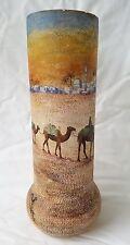 Vintage Deco French Orientalist Caravan Scene Painted Glass Vase, Signed
