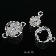 Sterling Silver Flower Tab Lock Toggle Clasp 12mm #51002