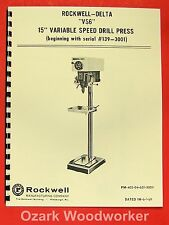 """ROCKWELL-DELTA 15"""" VS6 Variable Speed Drill Press New Owner's Parts Manual 0637"""