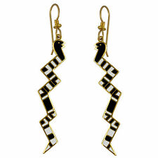 *NEW* ~ Laurel Burch SERPENTINE Black & White Cloisonne Snake Earrings ~