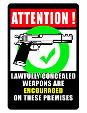 Conceal CARRY ALLOWED Sign FIREARM GUN RIGHTS SIGN FULL COLOR DURABLE ALUMINUM