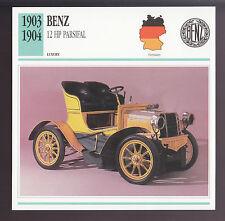 1903-1904 Benz 12 hp Parsifal Mercedes German Car Photo Spec Sheet Info CARD