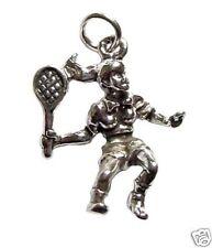 Jugador del Tenis 3D Colgante Plata 925 Joyas deportes Tenis Joya