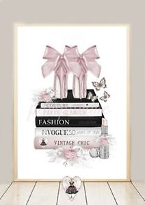 Blush Pink Grey Wall Art Fashion Print Books Shoes Roses Bedroom Vintage Glam A4