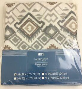 "PIER 1 IMPORTS Grommet Curtain Panel Drape White Gray Brown Loretto 50x84"" NIP"