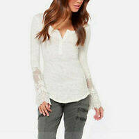 Women Long Sleeve Lace Top Ladies Sexy Pullover Basic Shirt Blouse Tee Plus Size