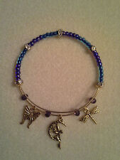 "Tibet Gold ""Butterfly, Fairy, Dragonfly"" Adjustable Wire Charm & Bead Bracelet"