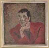 Maria Adolf-Krafft Portrait eines Mannes 1985 Öl auf Malpappe Kunst Malerei sf