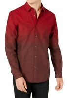 INC Mens Shirt Dark Red Size Small S Button Down Ombre Classic Fit $59 006