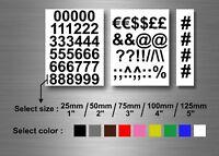Lot autocollant sticker numero nombre plusieurs taille et couleur moto auto