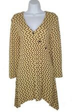 Tianello M Medium Paige Tunic Top Shirt Stretch Textured Asymmetric Yellow Black