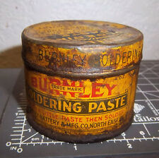vintage Burnley Soldering paste tin, great colors & graphics, a bit rusty
