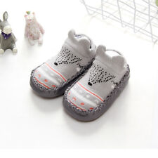 Animal Breathable Cotton Socks With Rubber Soles Anti-slip BOOTS Slippers 0-18m Gray 13cm