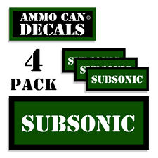 """SUBSONIC Ammo Can 4x Labels Ammunition Case 3""""x1.15"""" stickers decals 4 pack GR"""