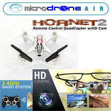 "MicroDRONE Hornet 2 Quadcopter w/ HD Cam Remote Control 7"" Fly & Landrover"