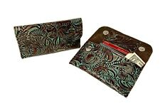 Raviani Wallet In Brown & Turquoise Western Tooled Cowhide Leather Made In USA