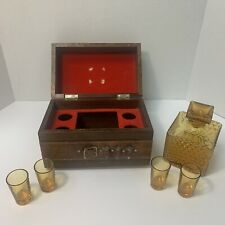 Vintage 5 Peace Whiskey Liquor Glasses Luxury Wooden Gift Box  Gun