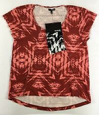 HURLEY Women NWT Kane Pink Red Printed Stretch Short Sleeve Top Shirt Blouse S
