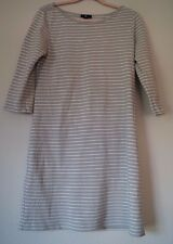 GAP Gray White Stripe Knit Cotton Boat Neck 3/4 Sleeve Sweater Dress M