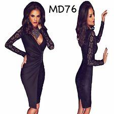 Sz 12 14 Black Lace Long Sleeve Formal Prom Cocktail Party Wrap Slim Midi Dress