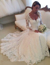 Weiß Elfenbein Spitze Hochzeitskleid Brautkleider Lange Ärmel 34 36 38 40 42 44