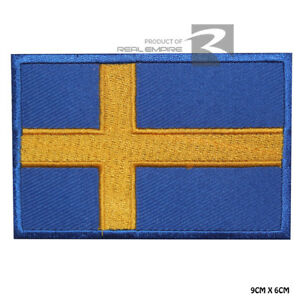 Sweden National Flag Iron on Sew on Embroidered Patch Badge For Clothes Etc