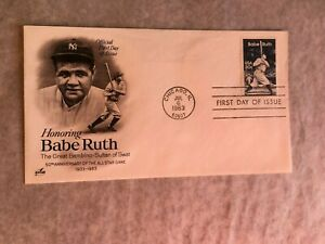 UNITED STATES USA 1983 FDC ART CRAFT BASEBALL BABE RUTH BAMBINO SULTAN OF SWAT
