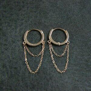 GENUINE 925 Sterling Silver Drape Chain Hoop Huggie Earrings UK New