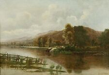 "Ernest Parton - Large Original Oil on Canvas "" On the Derwent"""