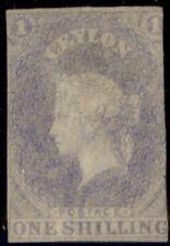 CEYLON #11, 1sh violet, unused no gum, 2 ½ margins, scarce stamp, signed,