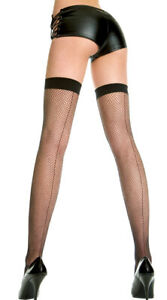 Queen Womens Plus Size Backseam Fishnet Thigh Highs, Plus Size Fishnets