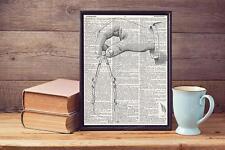 ANCIEN COMPAS Sketch Steampunk Style sacs vintage Dictionary page Art Imprimé A4