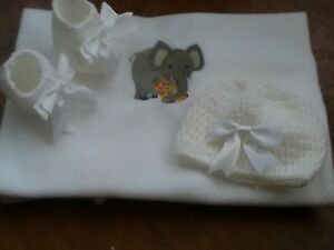 HAND MADE BABY BLANKET SET WITH EMBROIDERED ELEPHANT CROCHET BOOTIES AND HAT