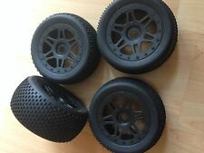 KYOSHO INFERNO NEO ST RACE SPEC, PYSCHO, 4 x NEW BLACK WHEELS AND TYRES, ISTH111