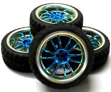A250084 1/10 On Road Soft Road Tread Car Wheels and Tyres 12 Spoke Light Blue 4