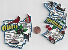 OHIO and MICHIGAN JUMBO  STATE  MAP MAGNETS  7 COLOR   NEW USA    2 MAGNETS