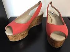 MAXMARA MAX MARA orange leather wedges Platform heels sandles shoes IT38/US8/AU7