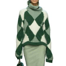 Occident Women Pullover Mohair Wool Blend Knitwear Sweater Turtleneck Fuzzy Tops