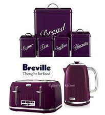 Breville Impressions Kettle and Toaster Set & 5 Piece Purple Canister Set New