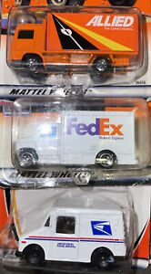 Lot Of 3 Matchbox USPS Mail Truck ALLIED & FedEx New In Package Die Cast 1:64
