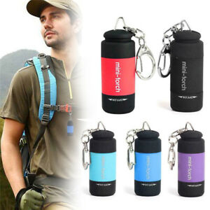Cute LED Torch Lamp Pocket USB Rechargeable Mini Keychain Camping Flashlight