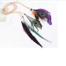Indian Peacock Feather Pendant Headband Golden Leaves Rope Hair Band Ribbons LD
