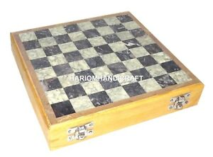 """8"""" Marble Chess Pieces and Board Handmade Home Decor Gifts for Birthday Art H659"""