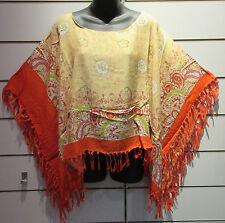 Poncho Fits M L XL Orange Gold Fringe Scarf Caftan Batwing Paisley Hippy NWT 55